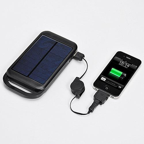 iPad/iPhone ソーラー充電器(iPad/iPhone/スマートフォン対応・LEDライト機能・予備バッテリー)700-BTS006