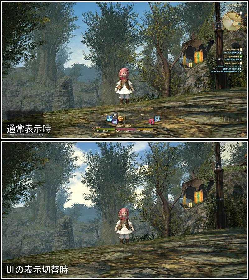 FF14 画面の各ウィンドウや文字の消し方