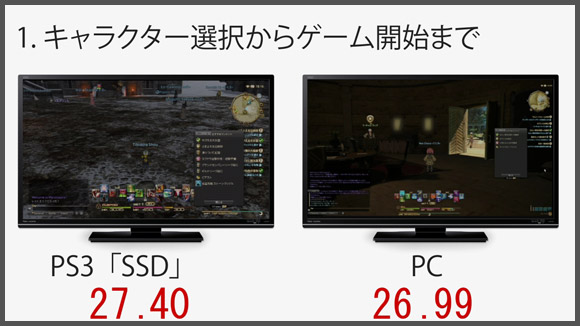 FF14 PS3_SSDとPCとの比較 1.キャラクター選択からゲーム開始まで