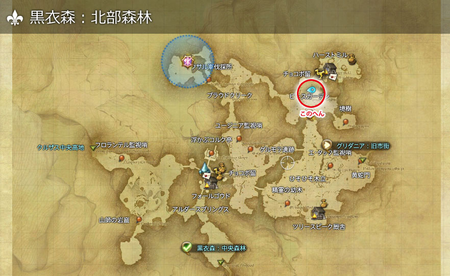 FF14 Fate発生場所 黒衣森:北部森林